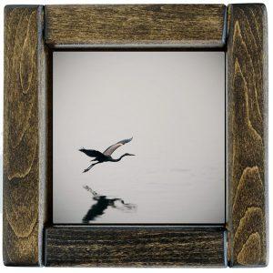 Framed Heron in Flight Photo Tile