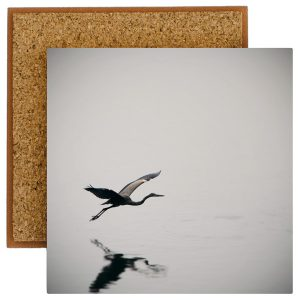 Heron in Flight Photo Tile with Cork Back