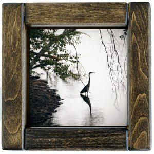Framed Standing Heron Photo Tile
