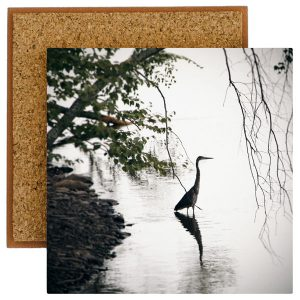 Standing Heron Photo Tile with Cork