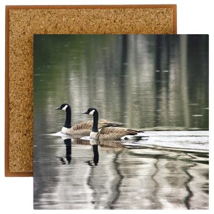 Swimming Geese Photo Tile with Cork Back