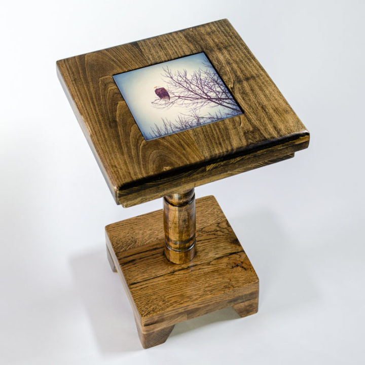19-inch Cocktail Table with Dark Stain and removable tile inlay