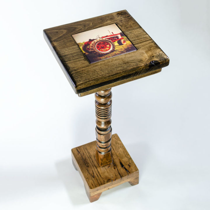 28-inch Cocktail Table with Jacobean Stain and removable tile inlay