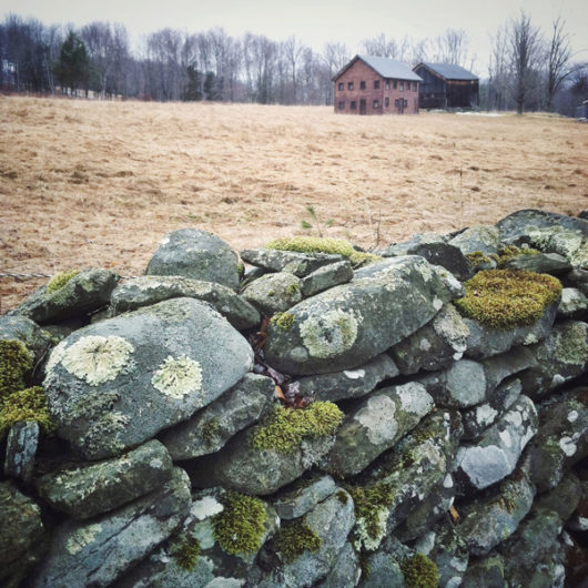 Barns Behind Stone Wall Photo Tile