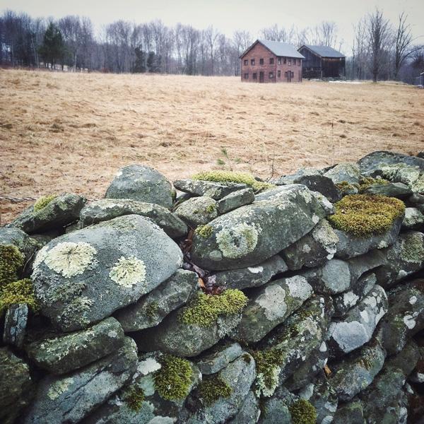 Barns Behind Stone Wall Photo Tile