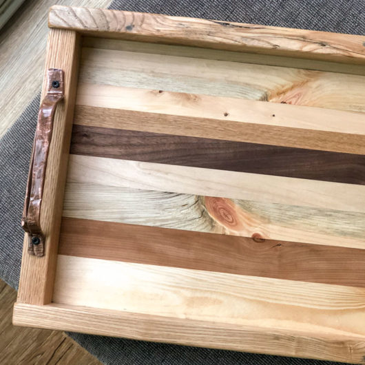 Stacked Wood Ottoman Tray with Natural Finish