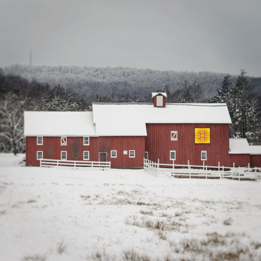Red Barn with Barn Quilt in Winter Photo Tile