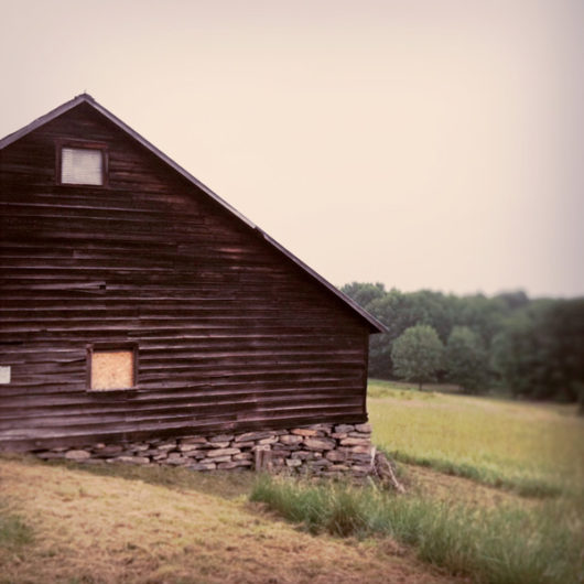 Saltbox Barn with Stone Foundation Photo Tile