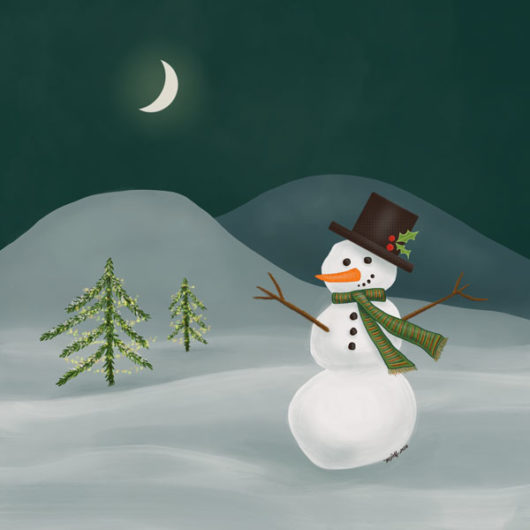 Snowman painting with crescent moon